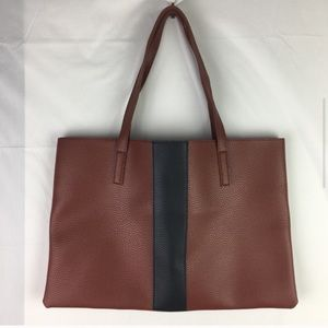 Vince Camuto Brown Colour Block Vegan Leather Tote